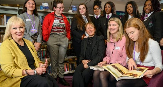Professor Abigail Harrison Moore and Professor Griselda Pollock with students from schools in the Leeds area.